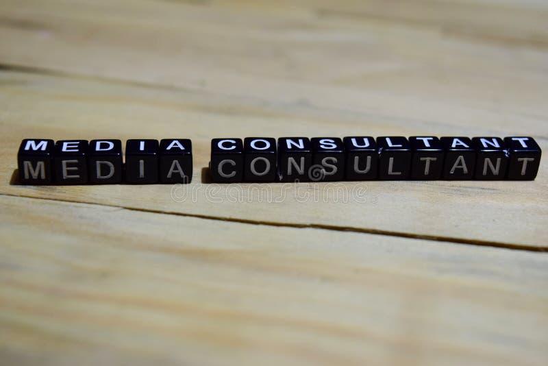 Messaggio del consulente in materia di media scritto sui blocchi di legno immagine stock libera da diritti