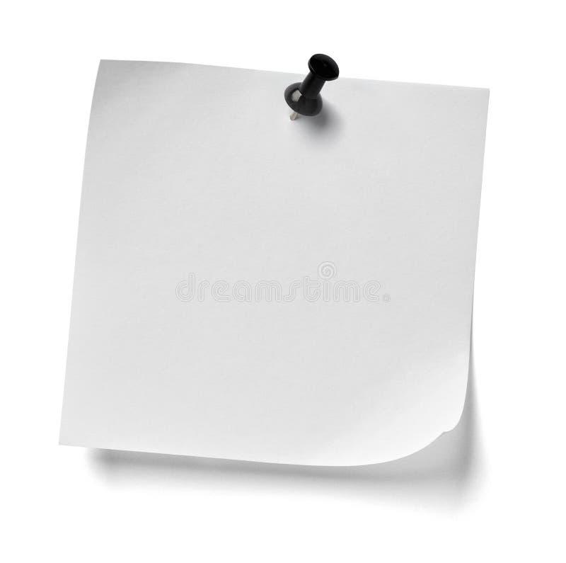 Messaggio del perno di spinta della carta per appunti fotografia stock libera da diritti