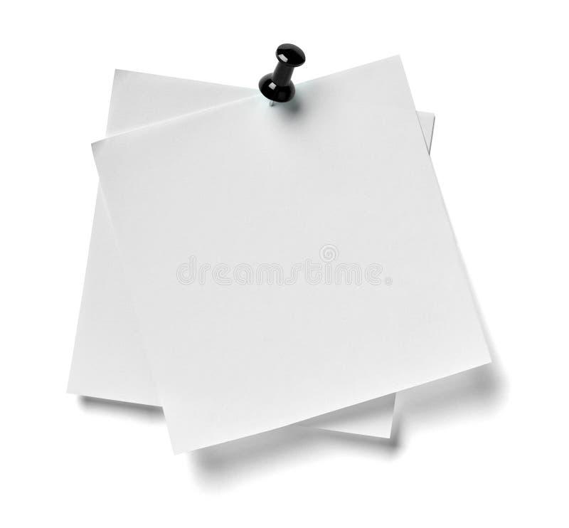 Messaggio del perno di spinta della carta per appunti fotografia stock
