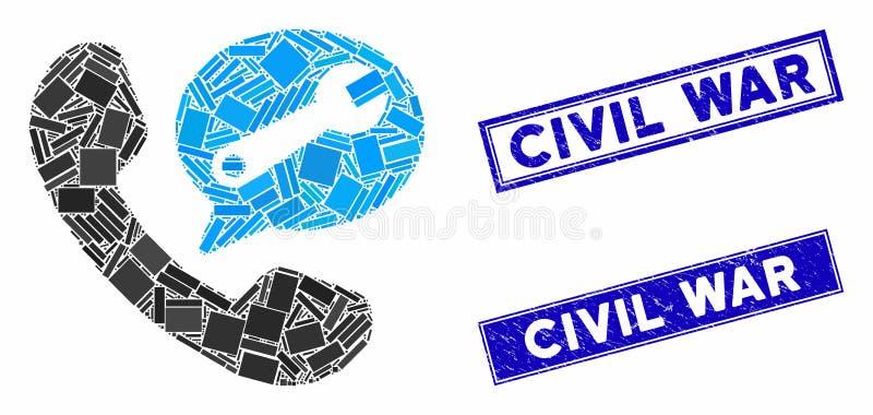 Messaggio del servizio telefonico: sigilli di un timbro per la guerra civile royalty illustrazione gratis