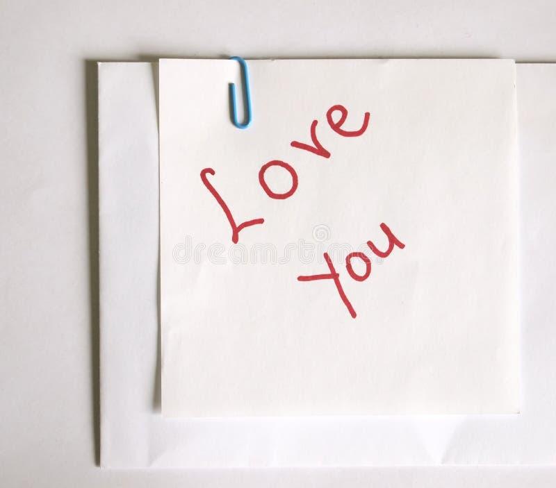 Messaggio di amore immagine stock