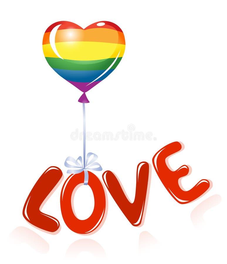 Messaggio di amore con l'aerostato del Rainbow royalty illustrazione gratis