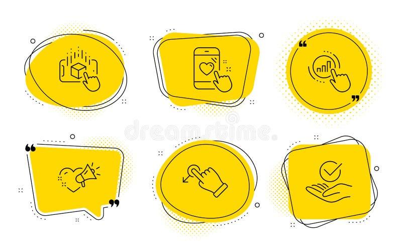 Messaggio di amore, realtà aumentata ed insieme delle icone di goccia di resistenza Grafico del grafico, valutazione del cuore e  illustrazione di stock