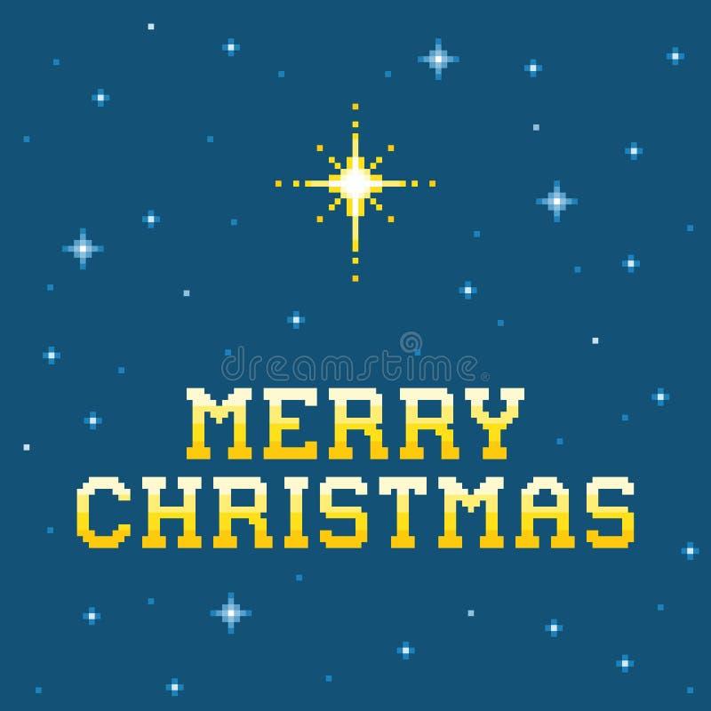 messaggio di Buon Natale del pixel di 8 bit con la stella di Betlemme royalty illustrazione gratis
