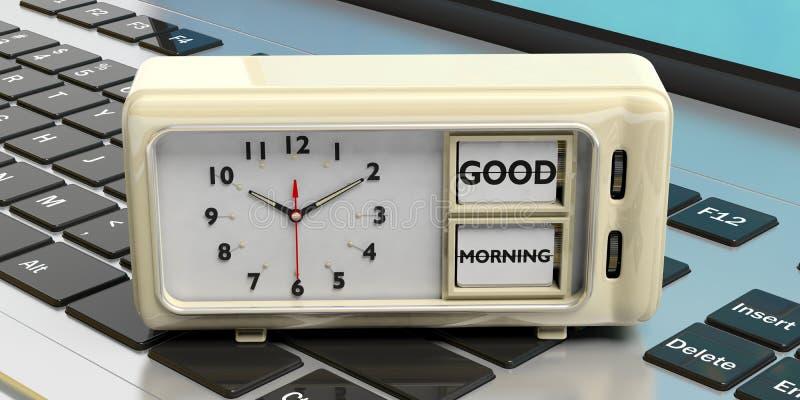 Messaggio di buongiorno sulla retro sveglia contro il fondo del computer illustrazione 3D illustrazione vettoriale