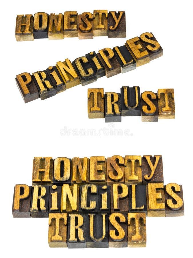 Messaggio di fiducia di principi di onestà immagine stock