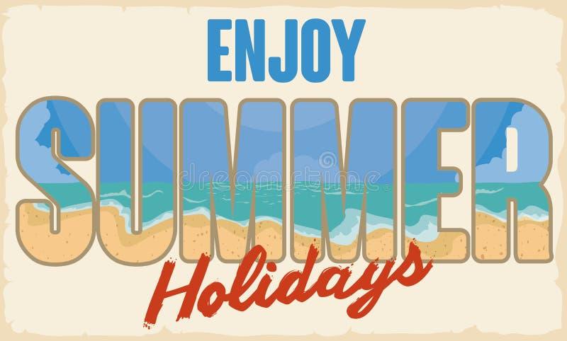 Messaggio di saluto con l'immagine della spiaggia dentro per l'insegna di estate, illustrazione di vettore illustrazione di stock