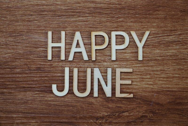 Messaggio di testo felice di giugno su fondo di legno immagini stock