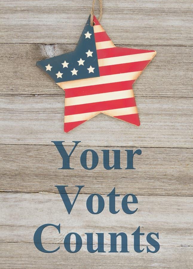 Messaggio di voto patriottico di U.S.A. i vostri conteggi di voto fotografie stock libere da diritti