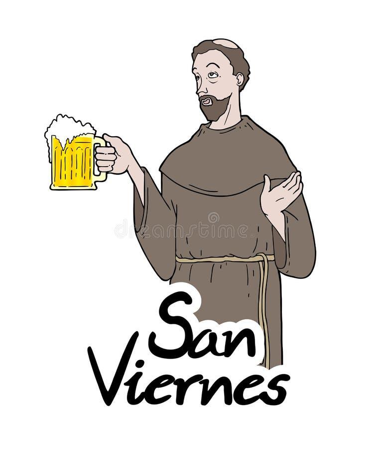 Messaggio divertente di venerdì del san nello Spagnolo illustrazione di stock