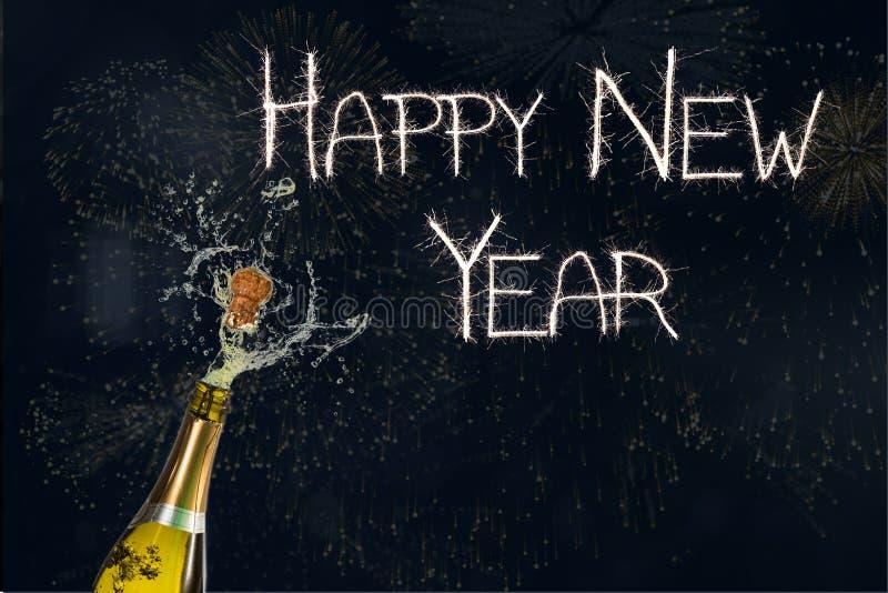 Messaggio e Champagne del nuovo anno su fondo nero illustrazione di stock