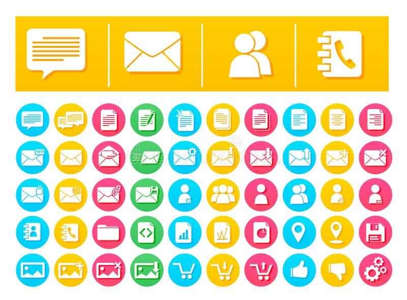 Messaggio e comunicazione del pacchetto dell'icona di vettore piani nei cerchi variopinti illustrazione vettoriale