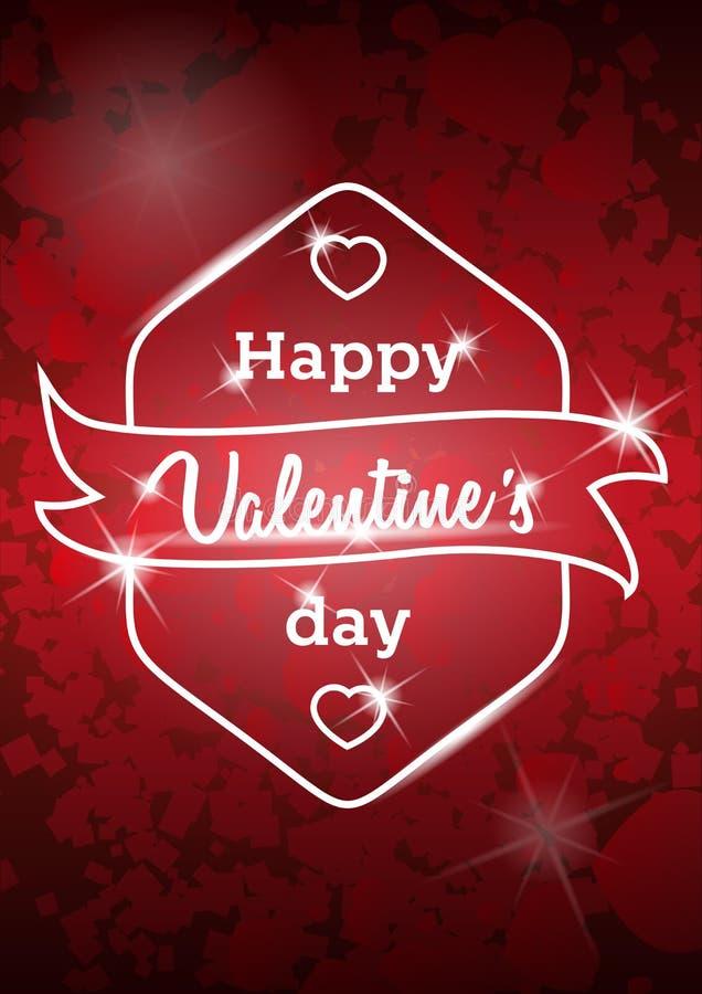 Messaggio felice di San Valentino su fondo vago rosso Retro fondo d'annata di vettore illustrazione di stock