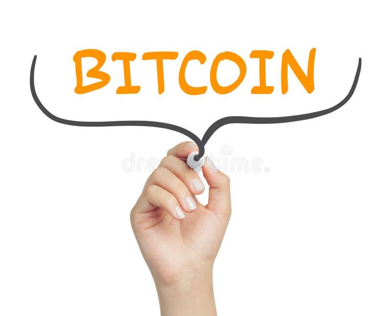Messaggio femminile del bitcoin di scrittura della mano e ganci ricci con l'indicatore immagine stock libera da diritti