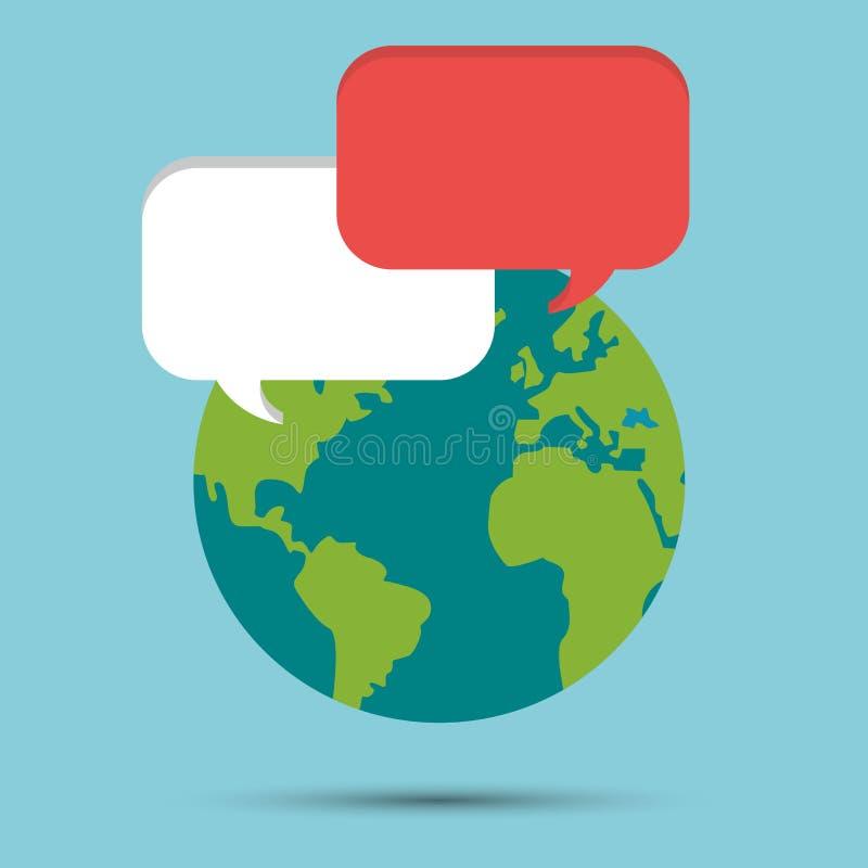 Messaggio globale di discorso della bolla del mondo della terra illustrazione vettoriale