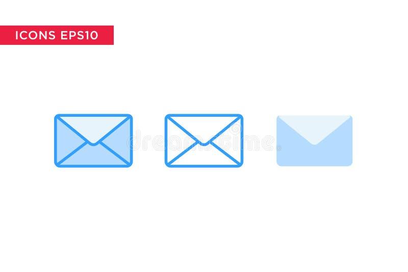 Messaggio, icona del email nella linea, profilo, profilo riempito e stile piano di progettazione isolati su fondo bianco Vettore  illustrazione di stock