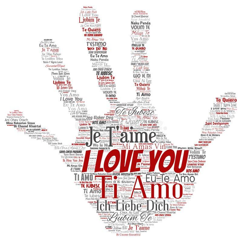 Messaggio multilingue romantico dolce di vettore ti amo illustrazione di stock
