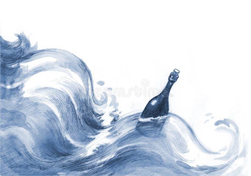 Messaggio nella bottiglia royalty illustrazione gratis