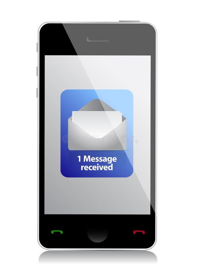 Messaggio non letto del telefono cellulare moderno illustrazione di stock