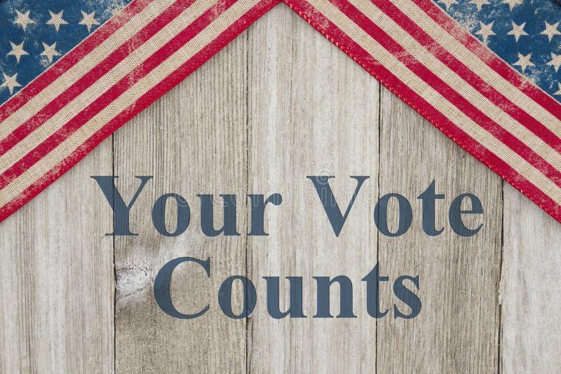 Messaggio patriottico dell'America i vostri conteggi di voto royalty illustrazione gratis