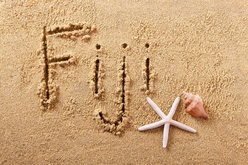 Messaggio scritto a mano della sabbia della spiaggia di Figi fotografia stock libera da diritti