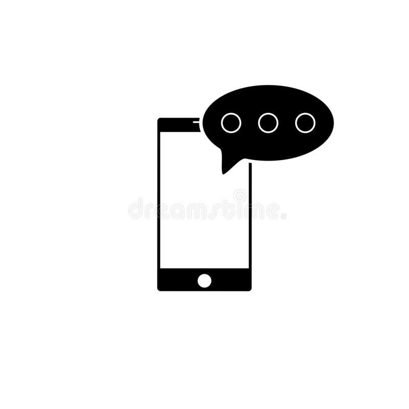 Messaggio SMS nell'icona dello smartphone Icona del messaggio SMS nello stile piano isolata su fondo bianco Simbolo di Sms in tel royalty illustrazione gratis