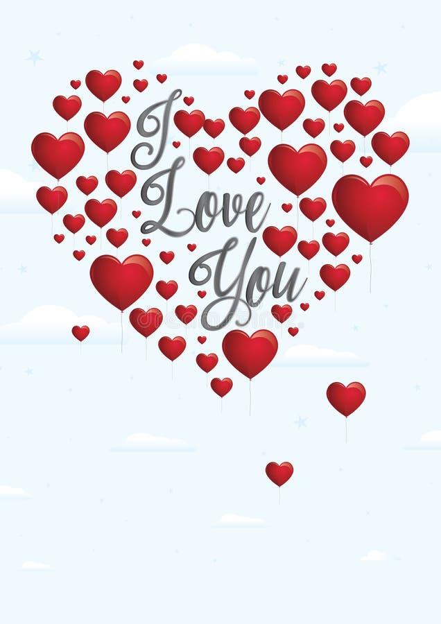 Messaggio ti amo con il galleggiamento in forma di cuore rosso dei palloni illustrazione di stock