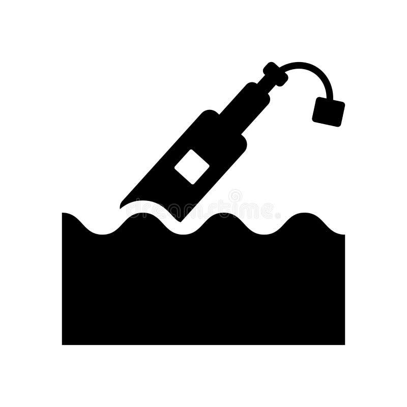Messaggio in un'icona della bottiglia  illustrazione vettoriale