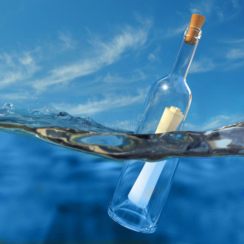 Messaggio in una bottiglia illustrazione vettoriale
