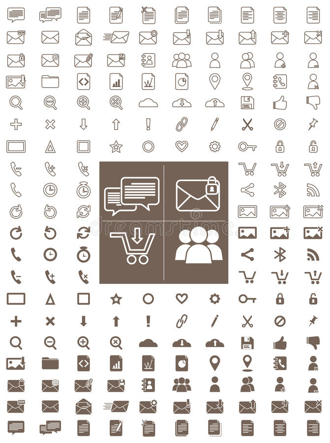 Messaging and Communication Line and Flat Vector Icon Pack vector illustration