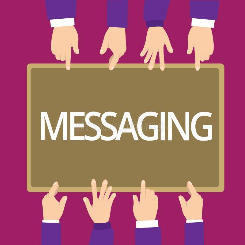 Messaging för handskrifttexthandstil Menande kommunikation för begrepp med andra till och med meddelanden som smsar att prata royaltyfri illustrationer