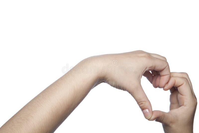 Messaging, genom att förlägga dina händer i den högra formen arkivbild