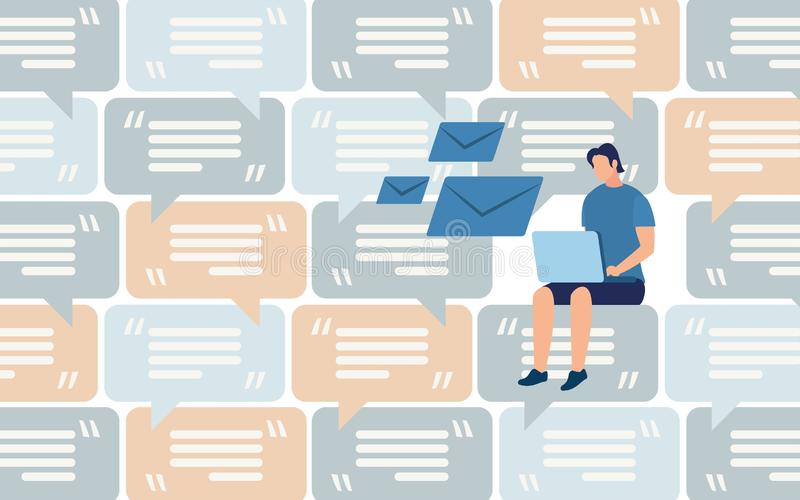 Messaging in Social Network Flat Vector Concept. Distant Work, Communication in Social Network, Mass Mailing and Spam, Client Support Flat Vector Concept. Man vector illustration