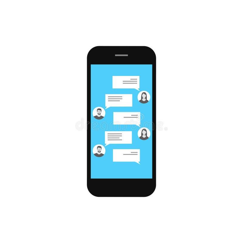 Messaging via mobiltelefonen Mobil telefon på en vit bakgrund Begreppet av kommunikationen royaltyfri illustrationer