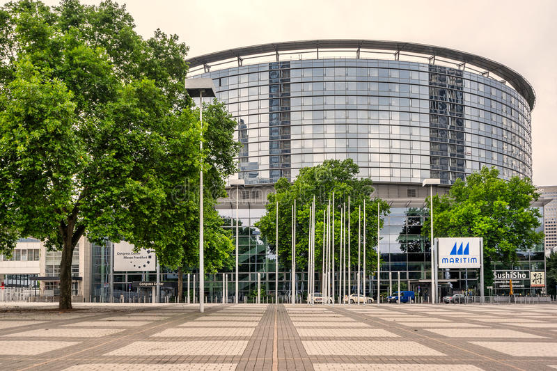 Messe congress centre in Frankfurt Am Main. Frankfurt,Germany on 27th July 2017: Congress Centre Messe Frankfurt is the city`s premier location for conferences stock photography