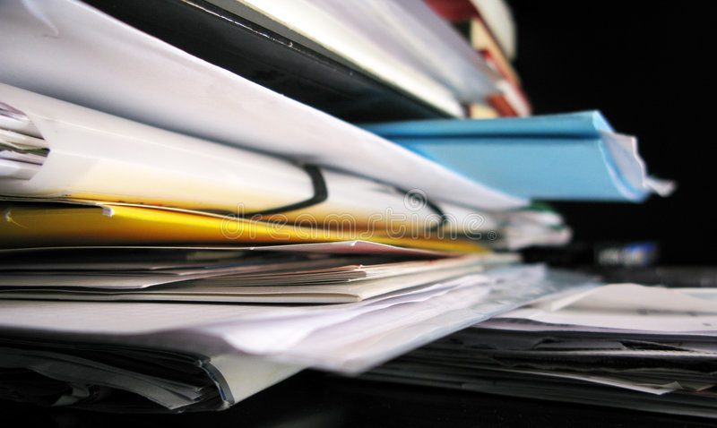 Messed papers. Pile of messed papers and documents stock image