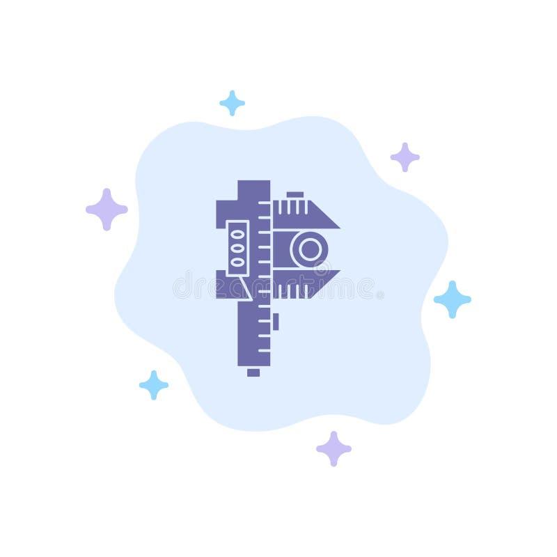 Messen, Genauigkeit, Maß, kleine, kleine blaue Ikone auf abstraktem Wolken-Hintergrund stock abbildung