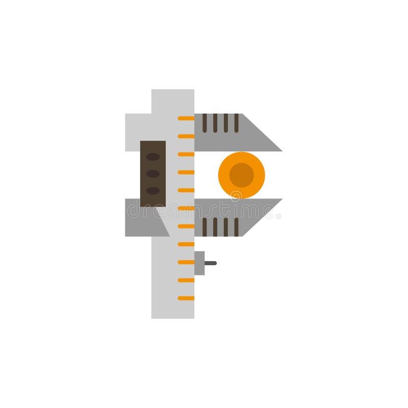 Messen, Genauigkeit, Maß, kleine, kleine flache Farbikone Vektorikonen-Fahne Schablone stock abbildung
