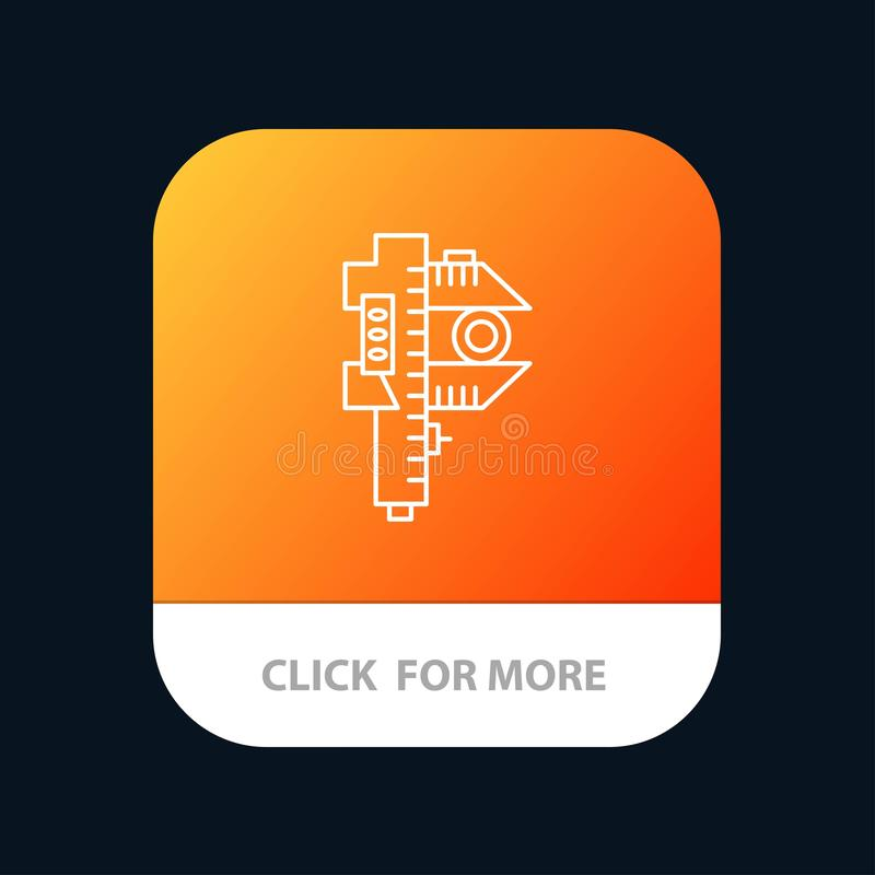 Messen, Genauigkeit, Maß, kleiner, kleiner mobiler App-Knopf Android und IOS-Linie Version vektor abbildung