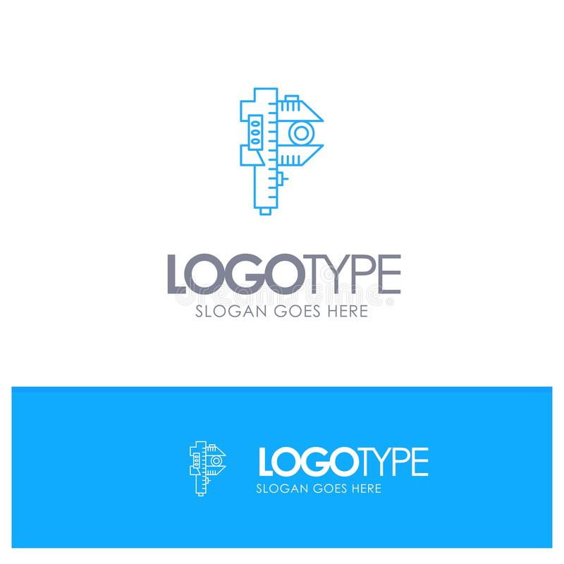 Messen, Genauigkeit, Maß, kleines, kleines blaues Entwurf Logo mit Platz für Tagline vektor abbildung