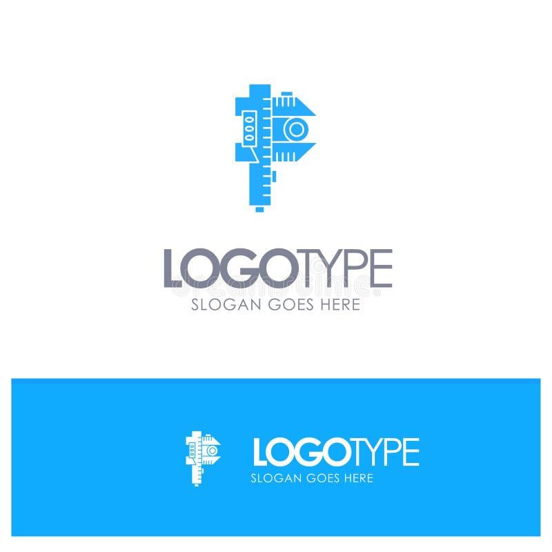 Messen, Genauigkeit, Maß, kleines, kleines blaues festes Logo mit Platz für Tagline vektor abbildung