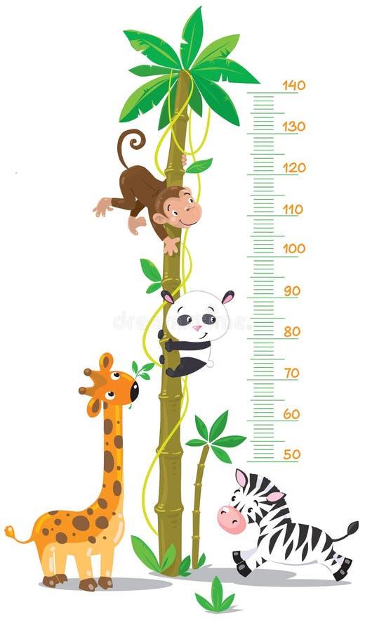 Messen Sie Wand mit Palme und lustigen Tieren lizenzfreie abbildung