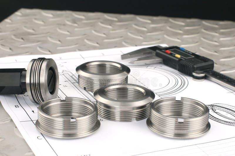 Messende Metalteile lizenzfreies stockfoto