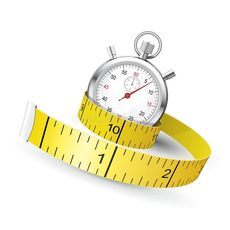 Messendes Band entwirren Stoppuhr - Diät- und Eignungskonzept lizenzfreie abbildung