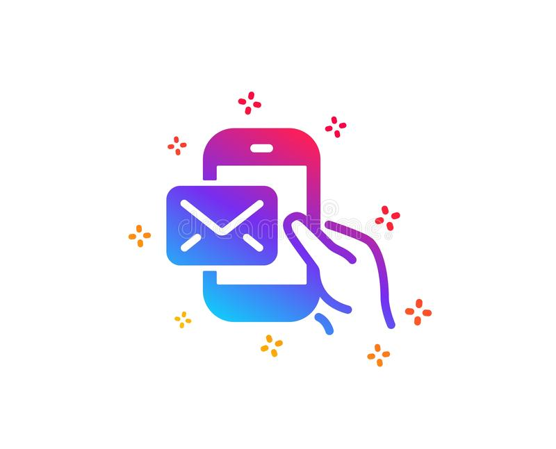Messenger Mail icon. New newsletter sign. Vector. Messenger Mail icon. New newsletter sign. Phone E-mail symbol. Dynamic shapes. Gradient design messenger Mail royalty free illustration
