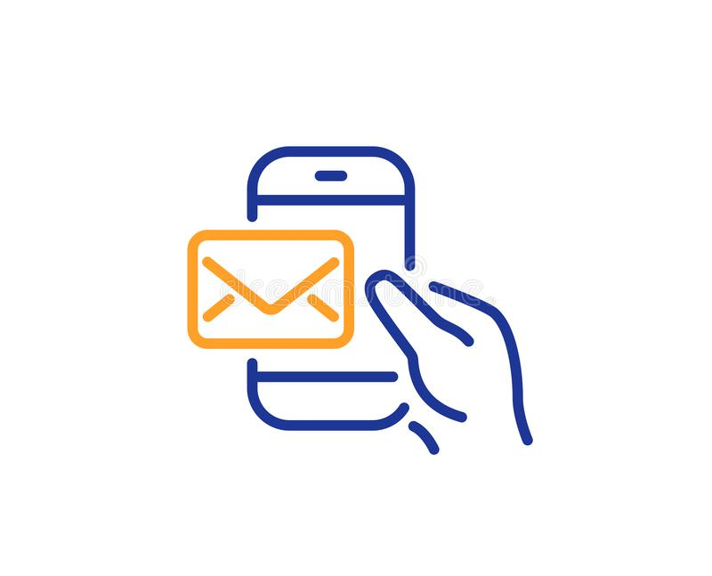 Messenger Mail line icon. New newsletter sign. Vector. Messenger Mail line icon. New newsletter sign. Phone E-mail symbol. Colorful outline concept. Blue and stock illustration