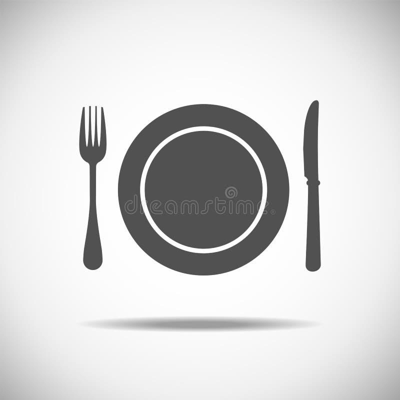 Messer, Platte, Gabel lizenzfreie abbildung