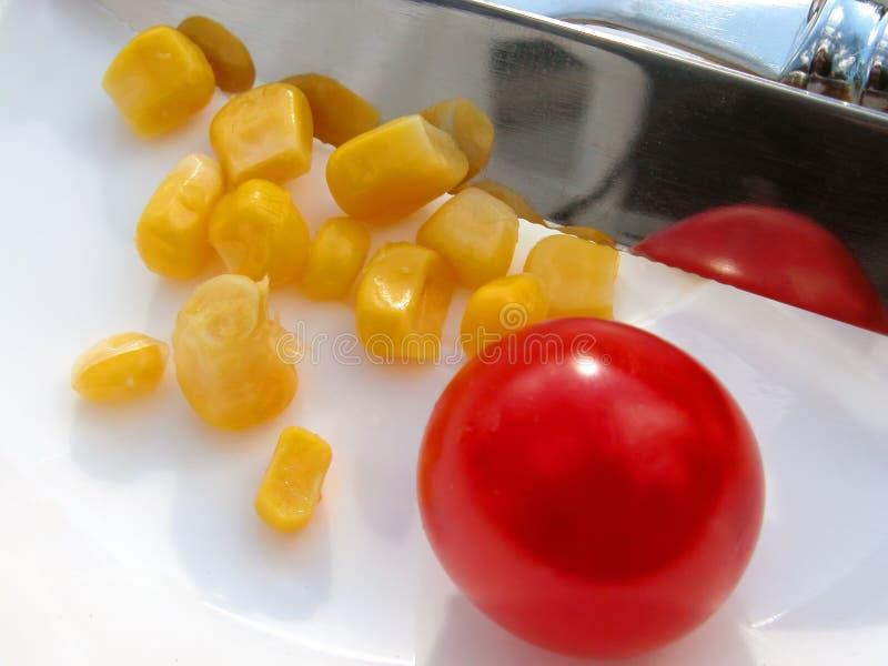 Messer Und Mais Stockfotografie