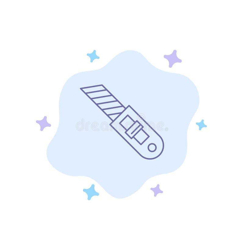 Messer, Werkzeug, Reparatur, Schneider-blaue Ikone auf abstraktem Wolken-Hintergrund lizenzfreie abbildung