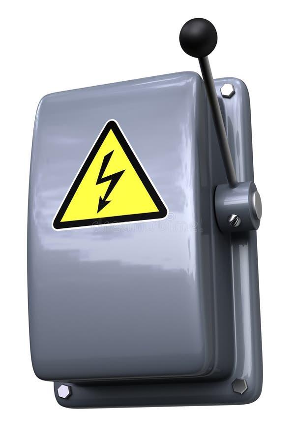 Messerschalter mit WARNING lizenzfreie abbildung